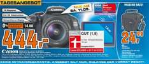 [Lokal Esslingen+Stuttgart] Canon EOS 600D Kit + EF-S 18-55MM IS II für 444 Euro (nur morgen, Sa, 11.05.)