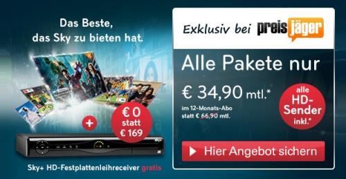 Sky Komplettpaket für 33,90 € statt 66,90 € im Monat (1 Jahr) - nur Österreich, nur 4 Tage