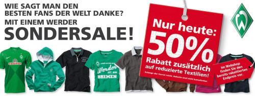 50% Rabatt im Werder Online-Shop *NUR HEUTE* z.B. Trikots ab 17,45€ (selbst Abh.)