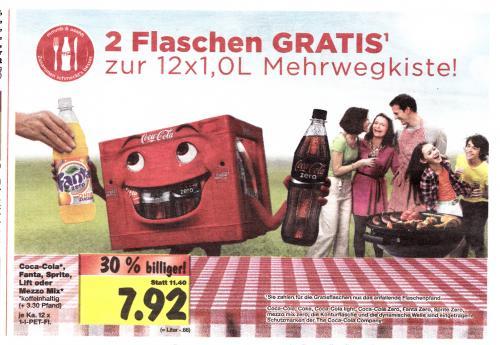 ab Montag im Kaufland Coca Cola, Fanta oder Sprite  12+2 Flaschen nur 7,92€