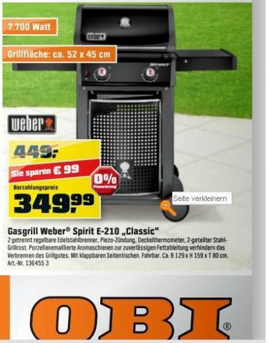 Weber Grill Spirit E-210 classic (2013er Modell) für 349 € durch TPG 308 € Bauhaus