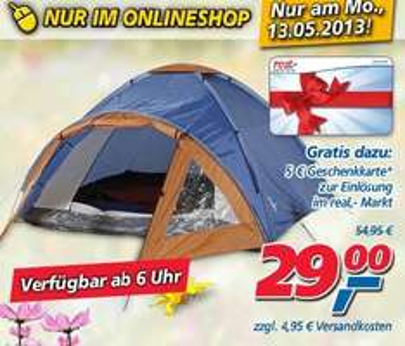 Real Online: Tagesdeal Silvertree Zelt Bergen + 5€ Geschenkkarte