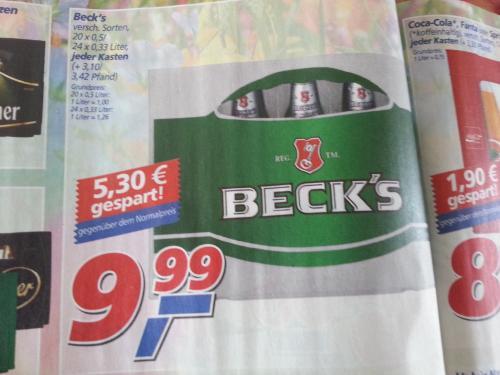 [Offline] Kasten Becks für unter nen Zehner