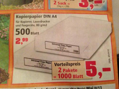 Kopierpapier 1.000 Blatt für 5€