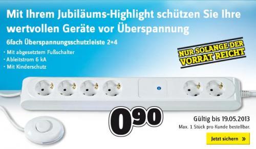 Überspannungsschutz-Steckdosenleiste 6fach Überspannungsschutzleiste 2+4 Weiß
