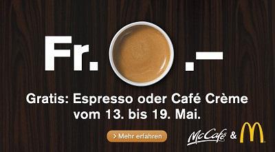 [Schweiz] Gratis Kaffee bei McDonald's und McCafé