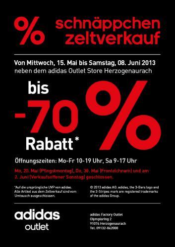 15.5.-8.6.13 adidas Schnäppchen Zeltverkauf neben Outlet in Herzogenaurach bis 70 % Rabatt