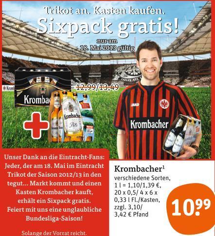 (bundesweit) tegut... Krombacher Kiste kaufen - ein Sixpack gratis - 18.05.!