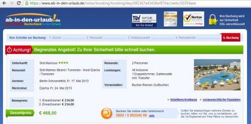 7 Tage Tunesien Hotel Sidi Mansour 4* AI 2 Personen 377,90€ ab Berlin Schönefeld 17.5.13