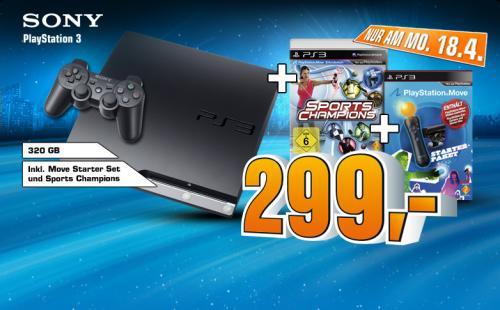 Playstation 3 320GB incl. Move Starter Paket und Sports Champions offline @Saturn bundesweit für 299€