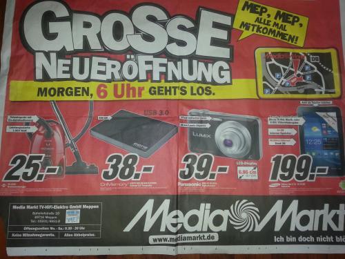 """Media Markt Meppen - Galaxy Tab 2-3G 16GB 199€, 500GB USB 3.0 2,5"""" HDD 38€... *Neueröffnung lokal*"""