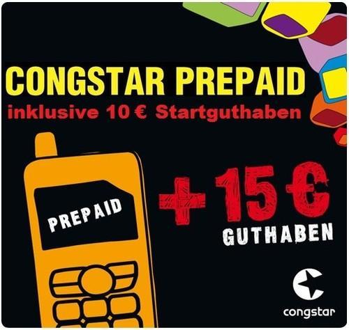Auf Ebay: Congstar Prepaidkarte mit 10 € Guthaben plus 15 € T-Mobile Aufladekarte, Cashkarte gratis