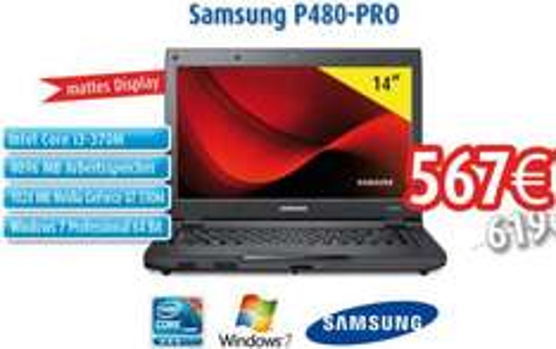 """mattes 14"""" Notebook mit GraKa und Intel i3-370M: Samsung P480-Pro"""