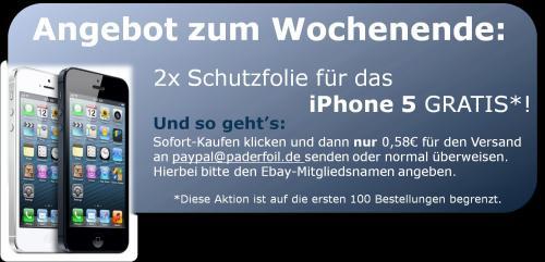 2 iPhone 5 Schutzfolien fast geschenkt
