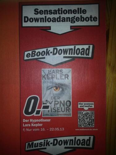 """[MediaMarkt.de] Gratis ebook """"Der Hypnotiseur"""" von Lars Kepler"""