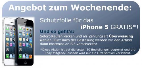 Schutzfolie für das iPhone 5 geschenkt - Versand auch kostenlos!
