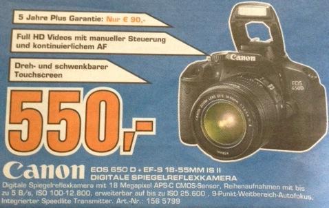 Canon EOS 650D Digitale Spiegelreflexkamera + EF-S 18 - 55 mm IS II 550€ @Saturn Osnabrück