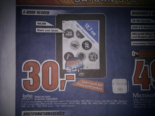 "[Lokal Saturn Stuttgart] Kobo Mini Black, 5"" Touchscreen E-Book Reader mit WLAN für 30,- Euro"