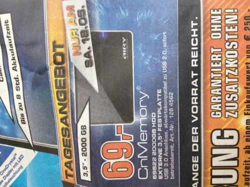 CNMEMORY Airy 2TB 3,5 Zoll USB 3.0 Festplatte schwarz für 69,00 € @ Saturn Frankfurt