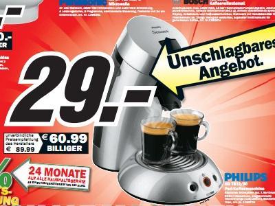 Media Markt Karlsruhe: Philips HD7812/50 Senseo für 29€, HP x22LED TFT für 99€ und mehr gute Angebote!