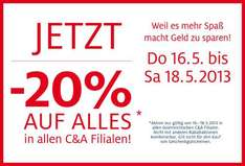[Österreich] C&A -20% auf alles(!) [16.5.-18.5.]
