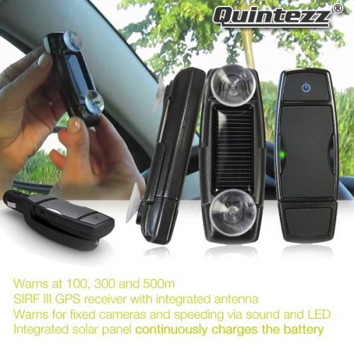 QUINTEZZ SPY SOLAR, Blitzer-Warnsystem mit GPS Empfänger, SIRF III Antenne und Solarpanel für 29,95 + VSK € bei IBOOD