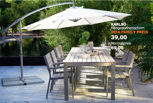 Ikea Hängesonnenschirm KARLSÖ für  39 Euro statt 69 Euro mit Ikea Karte