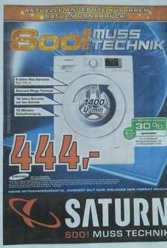 [Lokal Osnabrück] Saturn Waschmaschine Samsung WF 70 F5 E5P4W