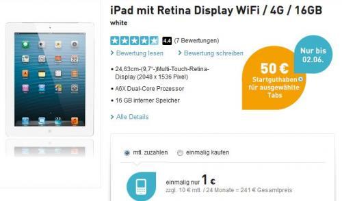 iPAD 4 Wifi+4G 16 GB weiß mit 500 MB Internet-Flat bei Base