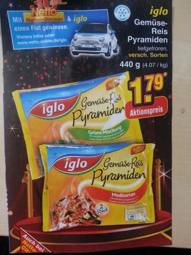 Iglo Reispyramide (verschiedene Sorten) 440g für 1,79€ am vom 21.05.13 – 25.05.13 bei Netto