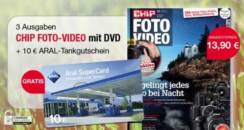 CHIP FOTO-VIDEO mit DVD Probeabo 13,90 EUR + 10 EUR Aral Gutschein + 3,90 EUR  QIPU