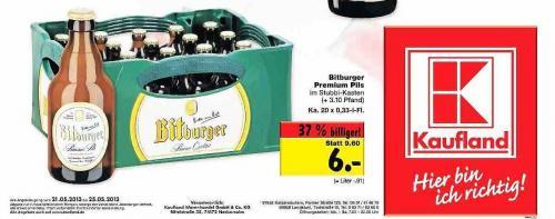 LOKAL: 1 Kiste Bitburger Stubbi für 6 Euro