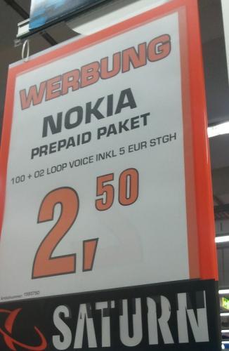 Nokia 100 + 5€ Startguthaben für 2,5€ bei Saturn in Bochum [Lokal?]