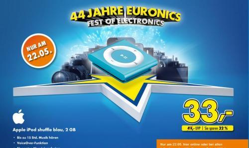 iPod Shuffle - 2gb - 4. Generation - blau  @ Euronics  -  33 €
