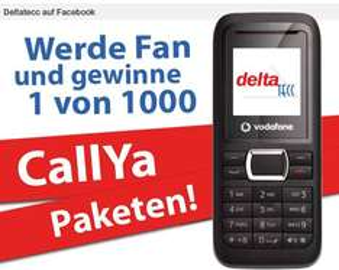 Deltatecc Facebook Fan werden und eines von 1.000 Vodafone CallYa Prepaid Handys gewinnen.
