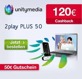 Wieder da! Unitymedia mit 120€ Cashback + 50€ Gutschein (BestChoice) für 2play PLUS 50