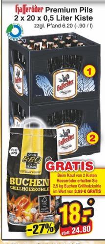 2 Kisten Hasseröder 20 x 0,5l plus Holzgrillkohle für 18 Euro beim Netto-Discount