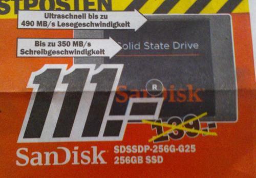 """[Lokal - Osnabrück] SanDisk SDSSDP-256G-G25 interne 2,5"""" SSD-Festplatte 256GB"""