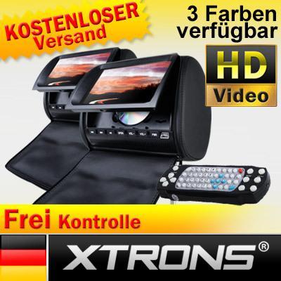 """2x 9"""" Kopfstütze Auto DVD Player Digital Screen *SCHWARZ* 2 IR Kopfhoerer"""