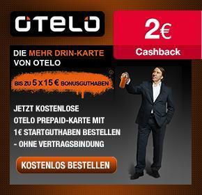 OTELO: gratis SIM Karte mit 1€ Startguthaben  + 15€ Aufladebonus+ 7€ Cashback (nach Aufladung)