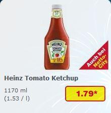 Bundesweit: Samstagskracher bei NETTO (ohne Hund): HEINZ Tomato Ketchup ~1,2 Liter - 1,79 €