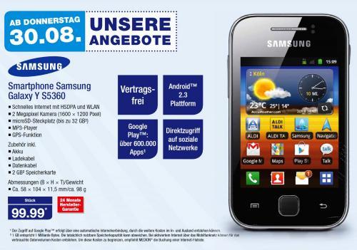 Samsung Galaxy Y Smartphone Handy Prepaid-Set
