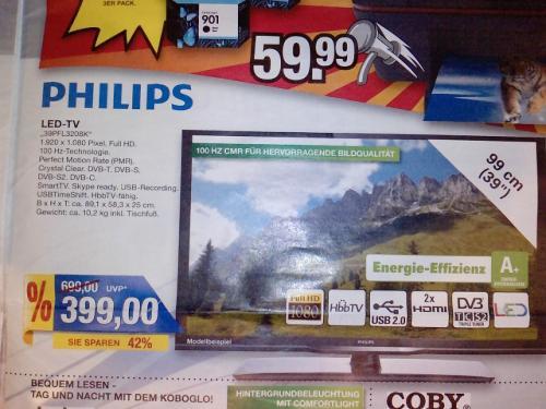 """Philips LED-TV """"39PFL3208K"""" bei Marktkauf ab Montag für 399,-"""