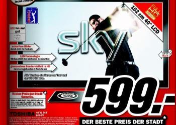 """Media Markt Heilbronn: Toshiba 40VL748G, 40"""" LED/DVB-T-C-S2/DLNA/2xUSB für 599€ und andere gute Angebote!"""