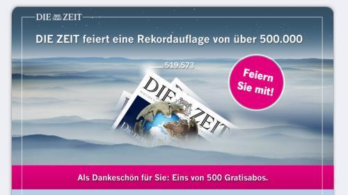 DIE ZEIT verschenkt 500 Gratis Abos für 4 wochen + Geschenk