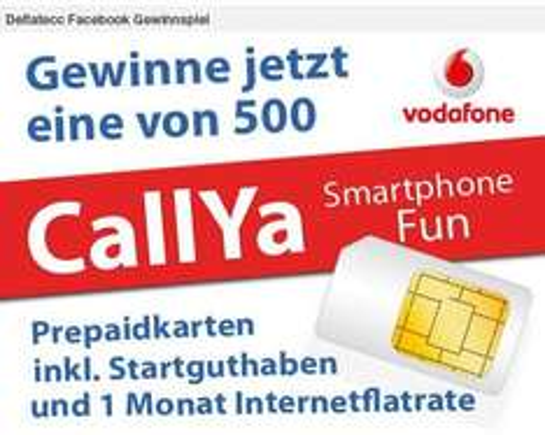 500 Vodafone CallYa Smartphone Fun Prepaid Karten inkl. Startguthaben und 1 Monat Internetflatrate!