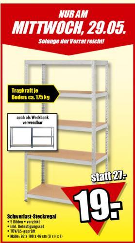 [Bundesweit] Schwerlastregal (Belastung max. 175 Kg pro Boden) am Mittwoch (29.05) für 19,-€ @ B1-Discount-Baumarkt