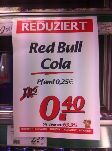 [lokal Marktkauf Leinf-Echterd.] Red Bull Cola 0,25l für 0,40€ zzgl. Pfand