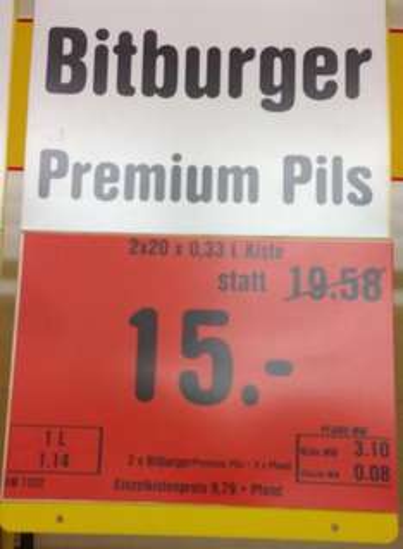 Bitburger Premium Pils oder Radler, 2 Kisten x 20 x 0,33 Liter für 15€ bei Netto