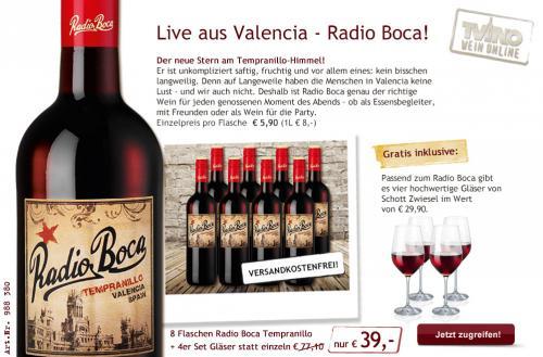 8 Flaschen Rotwein Radio Boca Temperanillo + 4 Rotweingläser von Schott Zwiesel